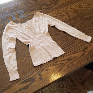 Tops - Nude/Pale Pink Stretchy Long Sleeve Top